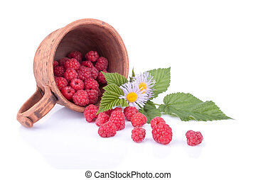 Isolated still life with raspberries