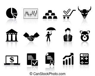 stock exchange icons set