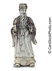 Isolated stone statue of Chinese philosopher