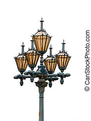 Isolated street lights with five lanterns