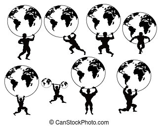 strong man lifting earth - isolated strong man lifting earth...
