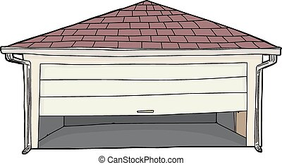 Isolated Stuck Garage Door - Empty clip art garage with...