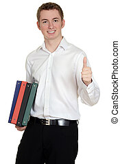student with binders giving thumbs