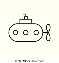 Submarine outline vector icon on white background