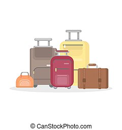 Isolated suitcases on white.