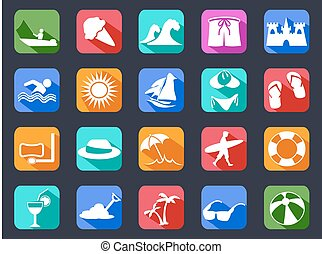 summer beach flat icons set with long shadow