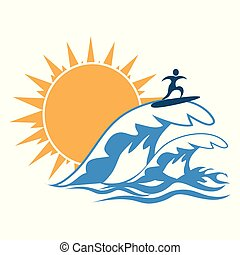 sun sea wave surf logo