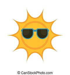 Isolated sun with sunglasses icon