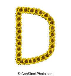 Isolated sunflower alphabet D