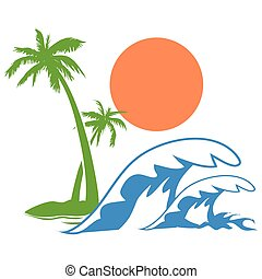Sunny palm tree wave logo