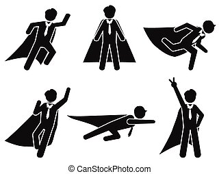 super businessman stick figure pictogram illustration vector