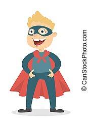 Isolated superhero boy.
