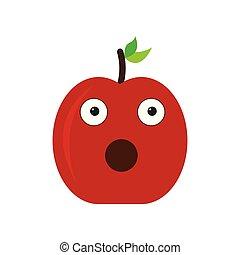 Isolated surprised apple emote