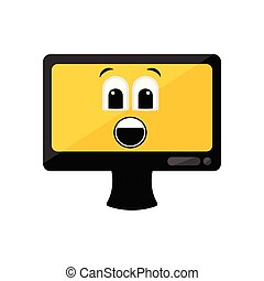 Isolated surprised computer screen emote