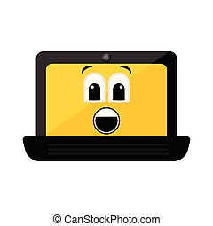 Isolated surprised laptop emote
