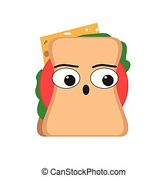 Isolated surprised sandwich emote