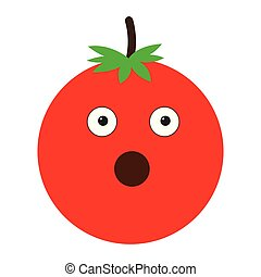 Isolated surprised tomato emote