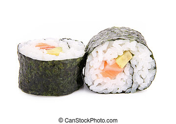 isolated sushi maki - sushi maki on white background