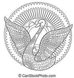 isolated swan decorated in boho style - Hand drawn decorated...