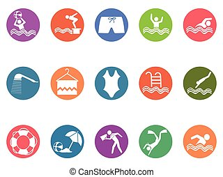 swimming pool round button icons set
