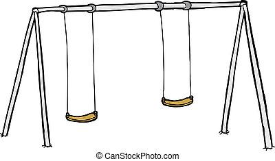 Isolated Swing Set - Isolated cartoon swing set over white...