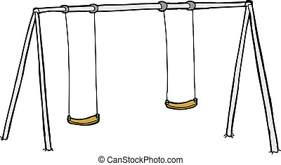 Isolated Swing Set - Isolated cartoon swing set over white...