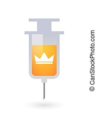 Isolated syringe icon with a crown
