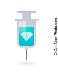 Isolated syringe icon with a diamond