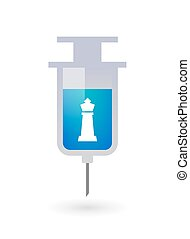 Isolated syringe with a  king   chess figure