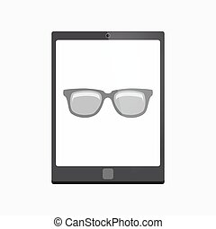 Isolated tablet pc with a glasses