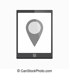 Isolated tablet pc with a map mark