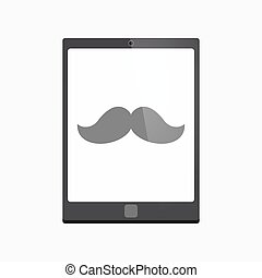 Isolated tablet pc with a moustache