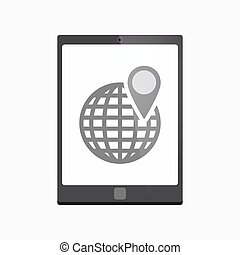 Isolated tablet pc with a world globe