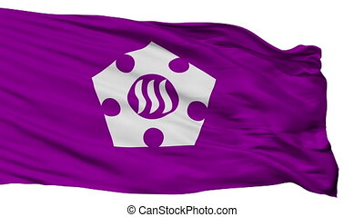 Isolated Tachikawa city flag, prefecture Tokyo, Japan -...
