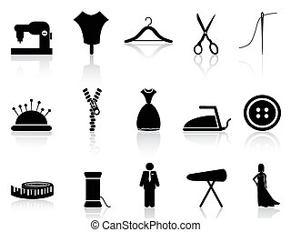 tailor icons set - isolated tailor icons set on white...