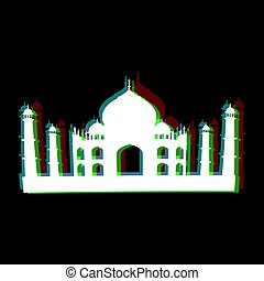 Isolated Taj Mahal silhouettte