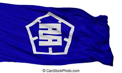 Isolated Tajimi city flag, prefecture Gifu, Japan - Tajimi...