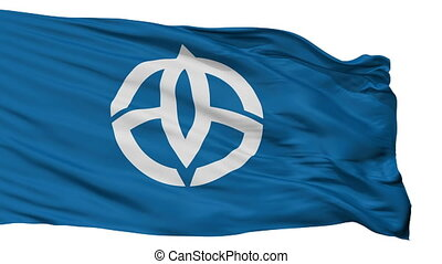 Isolated Takasago city flag, prefecture Hyogo, Japan -...