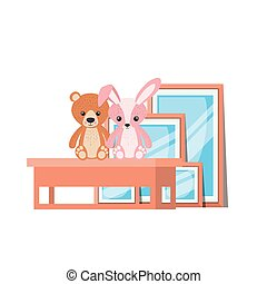 Isolated teddy bear and rabbit design