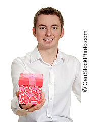 teen boy giving valentines gift