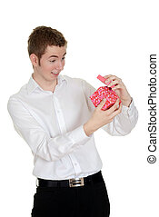 teen boy surprised valentines gift