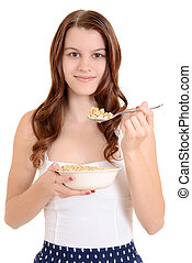 isolated Teen girl eating cereal