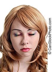 teen girl with rainbow eye shadow