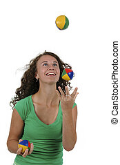 Isolated teenage girl juggling - Isolated portrait of a...