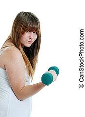 teenager exercising hard