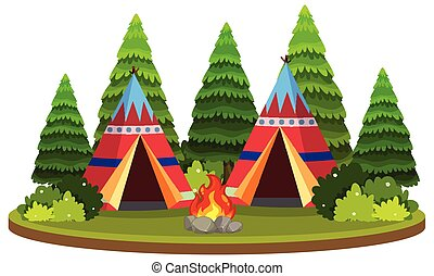 Isolated teepee in nature illustration