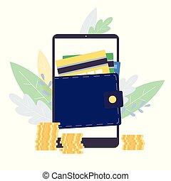 isolated., tela, telefone digital, móvel, conceito, apartamento, carteira, vetorial, ilustração