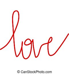 Isolated text love red color hand writing on white