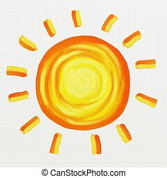 painted sun - isolated textured painted sun design on white ...