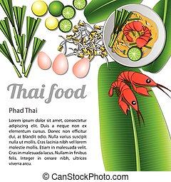 Isolated Thai Food Menu Phad Thai
